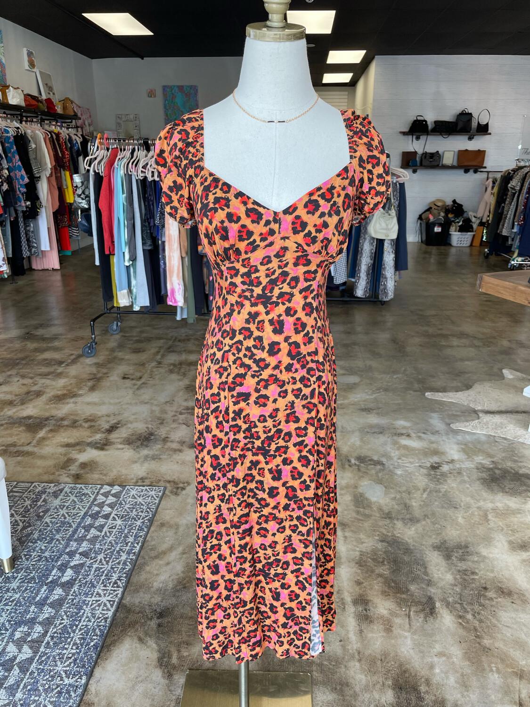 French Connection Leopard Print Dress w/ Slit - Size 6