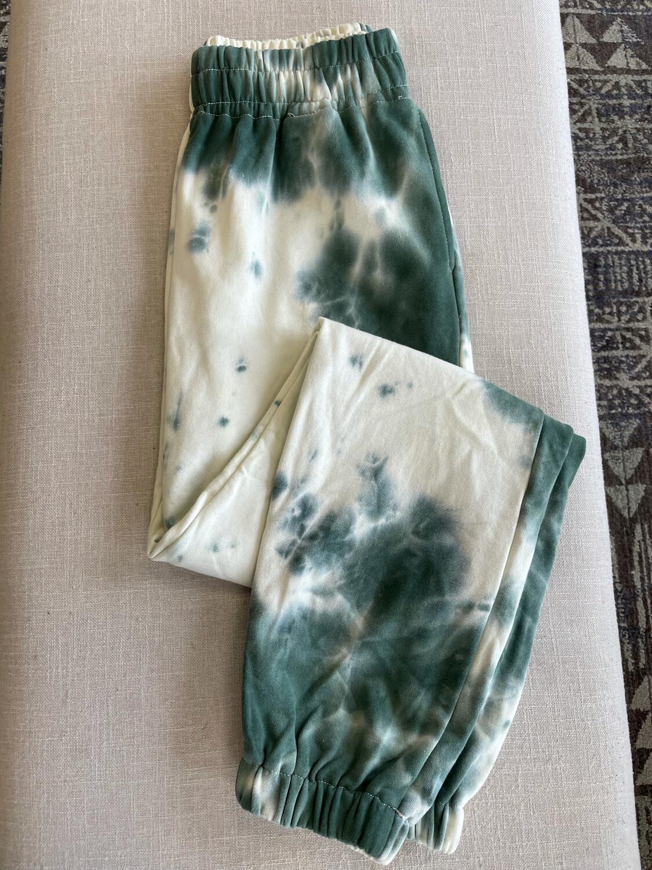 Tic Toc Green & Cream Tie Dye Sweatpants - S