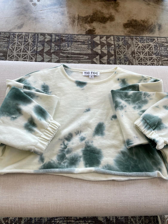 Tic Toc Green & Cream Tie Dye Cropped Sweatshirt - S