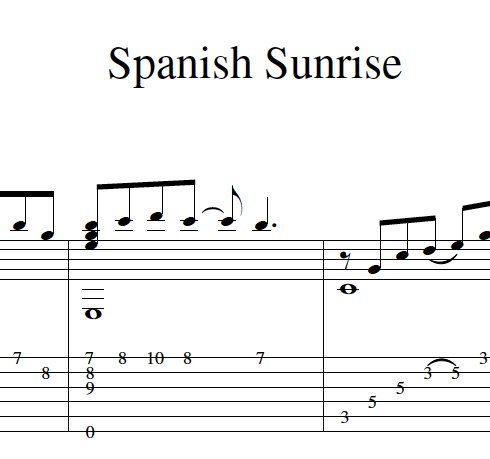 """Guitar Tab and Standard Notation for """"Spanish Sunrise"""""""