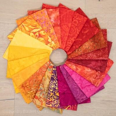 LBQ Red Batik Fabric Fat Quarter Bundle