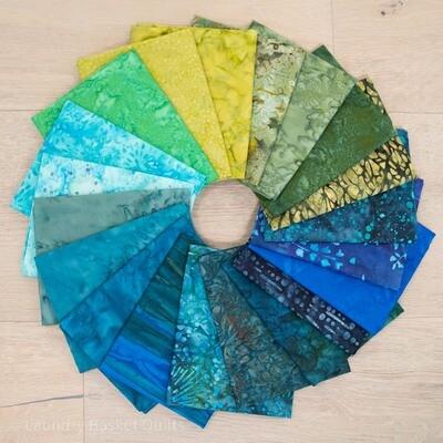 LBQ Blue Batik Fabric Fat Quarter Bundle