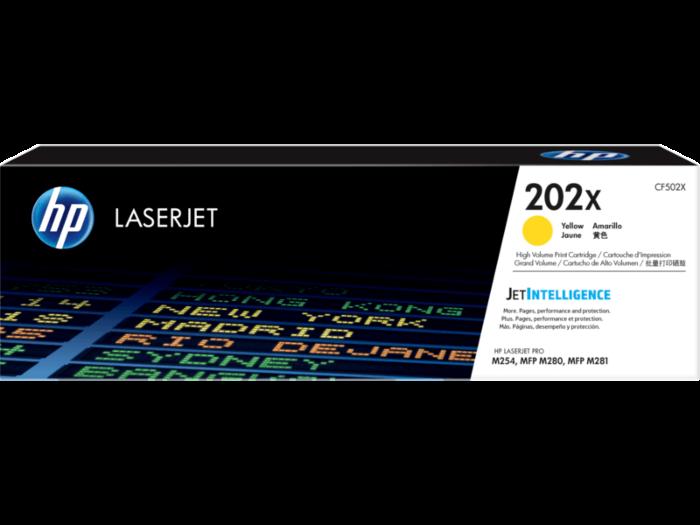 HP 202X 高打印量黃色原廠 LaserJet 碳粉 CF502X