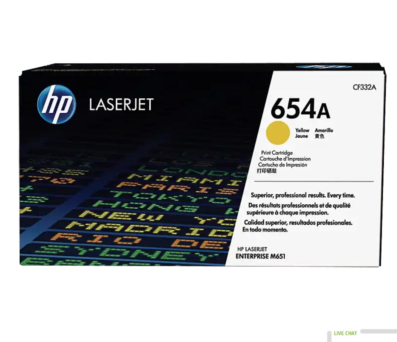 HP 654A 黃色原廠 LaserJet 碳粉 CF332A