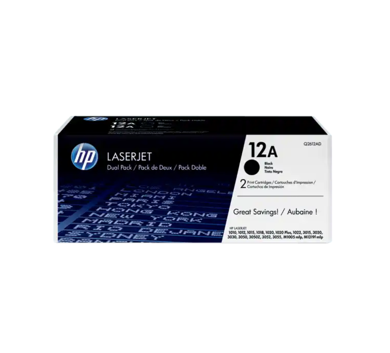 HP 12A 黑色原廠 LaserJet 碳粉 2 個裝Q2612AD