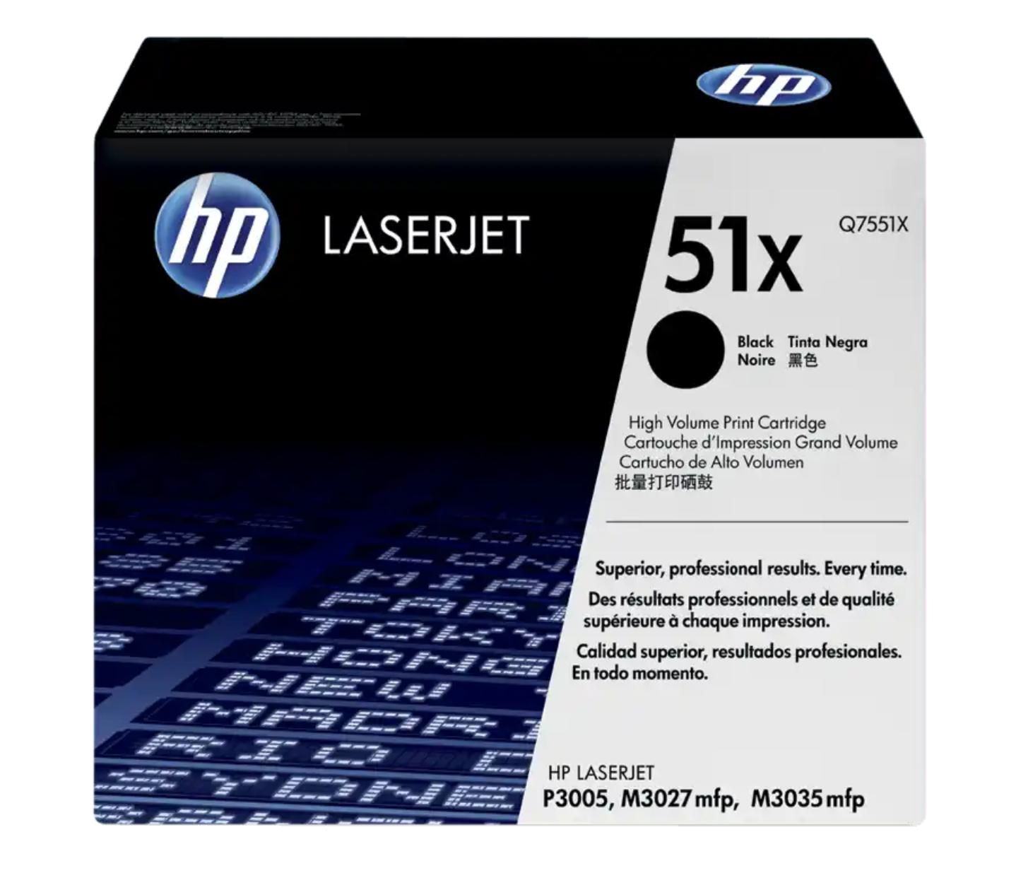 HP 51X 黑色原廠 LaserJet 碳粉 Q7551X