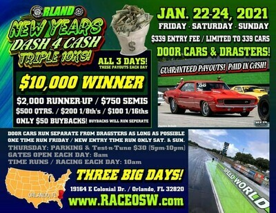 DEPOSIT ONLY - PRE-ENTRY / JAN. 2021 / New Years Dash 4 Cash