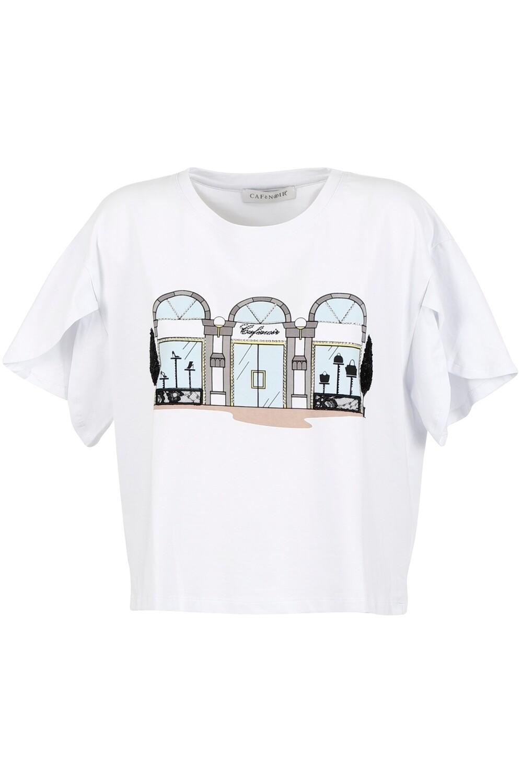 T-shirt stampa boutique Cafenoir art. C7JT6140 colore bianco