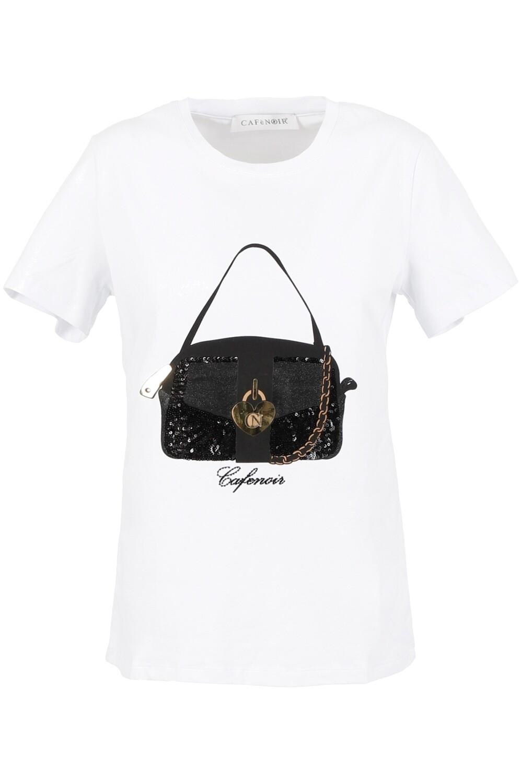 T-shirt stampa borsa Cafenoir art. C7JT6510 colore bianco