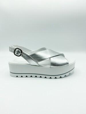 Sandalo Nero Giardini art.E012585D/700 colore argento