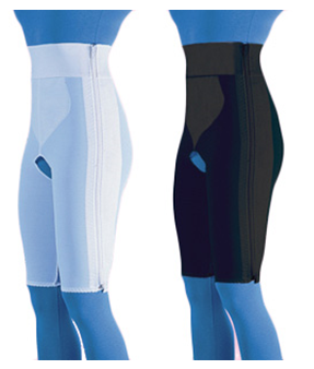 Compression Girdle Above Knee - Contact Closure with Zipper