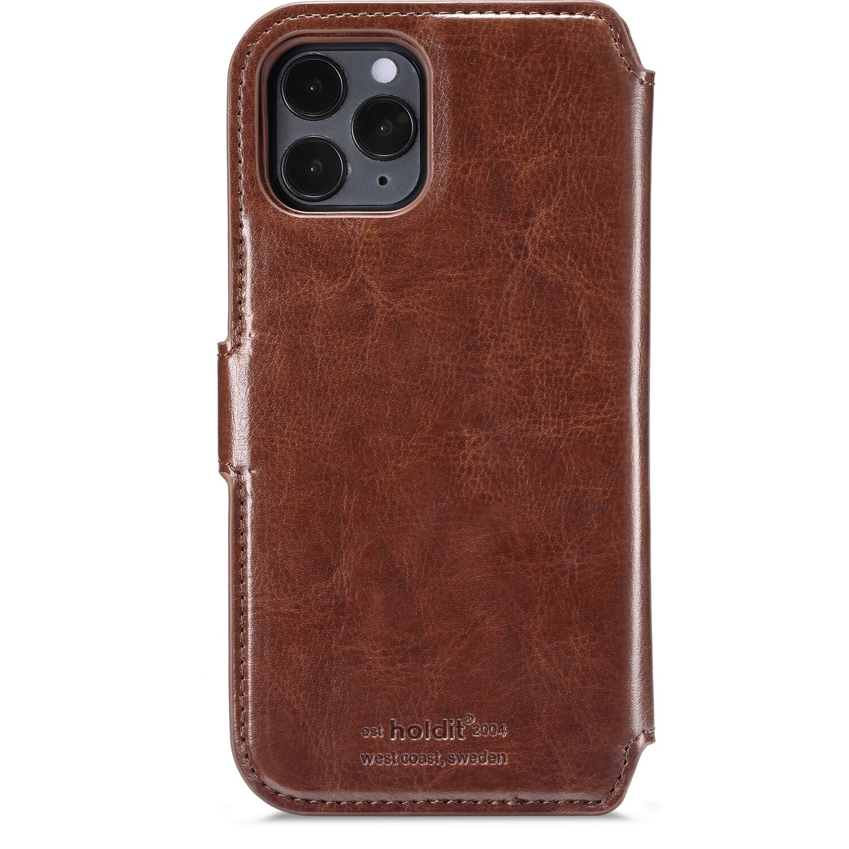iPhone 12/12 Pro wallet hoesje, magnetisch donker bruin