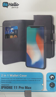 Be Hello iPhone XI Max (2019) 2-in-1 Wallet Case Black