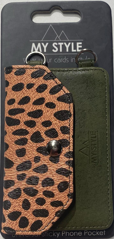 My Style Crossbody Stick Phone Pocket with RFID Green Leopar