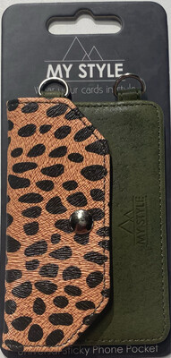 My Style Crossbody Stick Phone Pocket with RFID Green Leopar