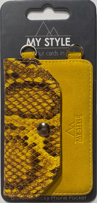 My Style Crossbody Stick Phone Pocket with RFID Yellow Snake
