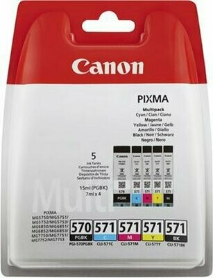 Inkt Canon PGI-570/CLI-571 Zwart, Cyaan, Magenta, Geel, Foto Zwart