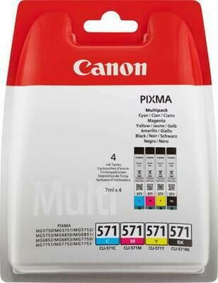Inkt Canon CLI-571 Vier kleuren C/M/Y/BK