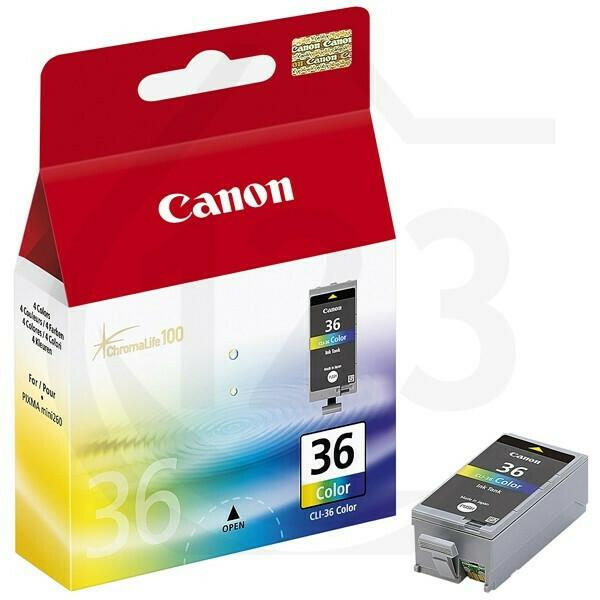 Inkt Canon 36 Zwart, Cyaan, magenta, geel