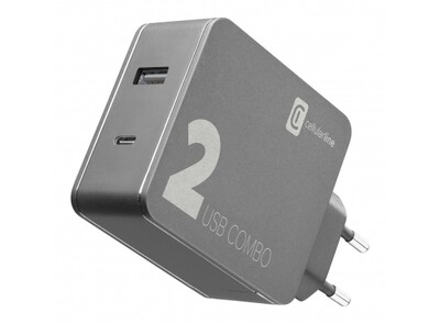 Cellularline - Reislader 42W MacBook/iPhone, zwart