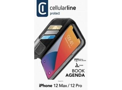 iPhone 12 Max/ 12 Pro, hoesje book agenda, zwart