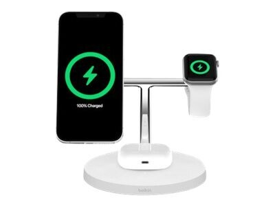 Boost Charge Pro MagSafe 3-in-1 Wireless Charger - White
