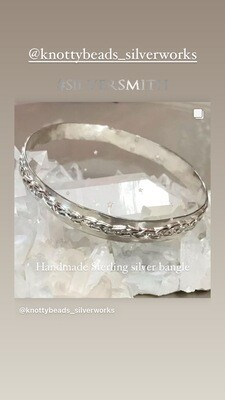 Sterling Silver Bangle with sterling silver braided design
