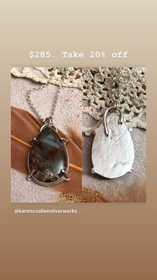 Sagenitic Agate Pendant Necklace in Sterling