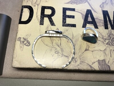 Sterling Silver bangle with Boulder Opal