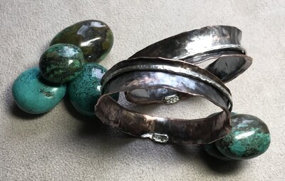 Copper bangles with Sterling silver features