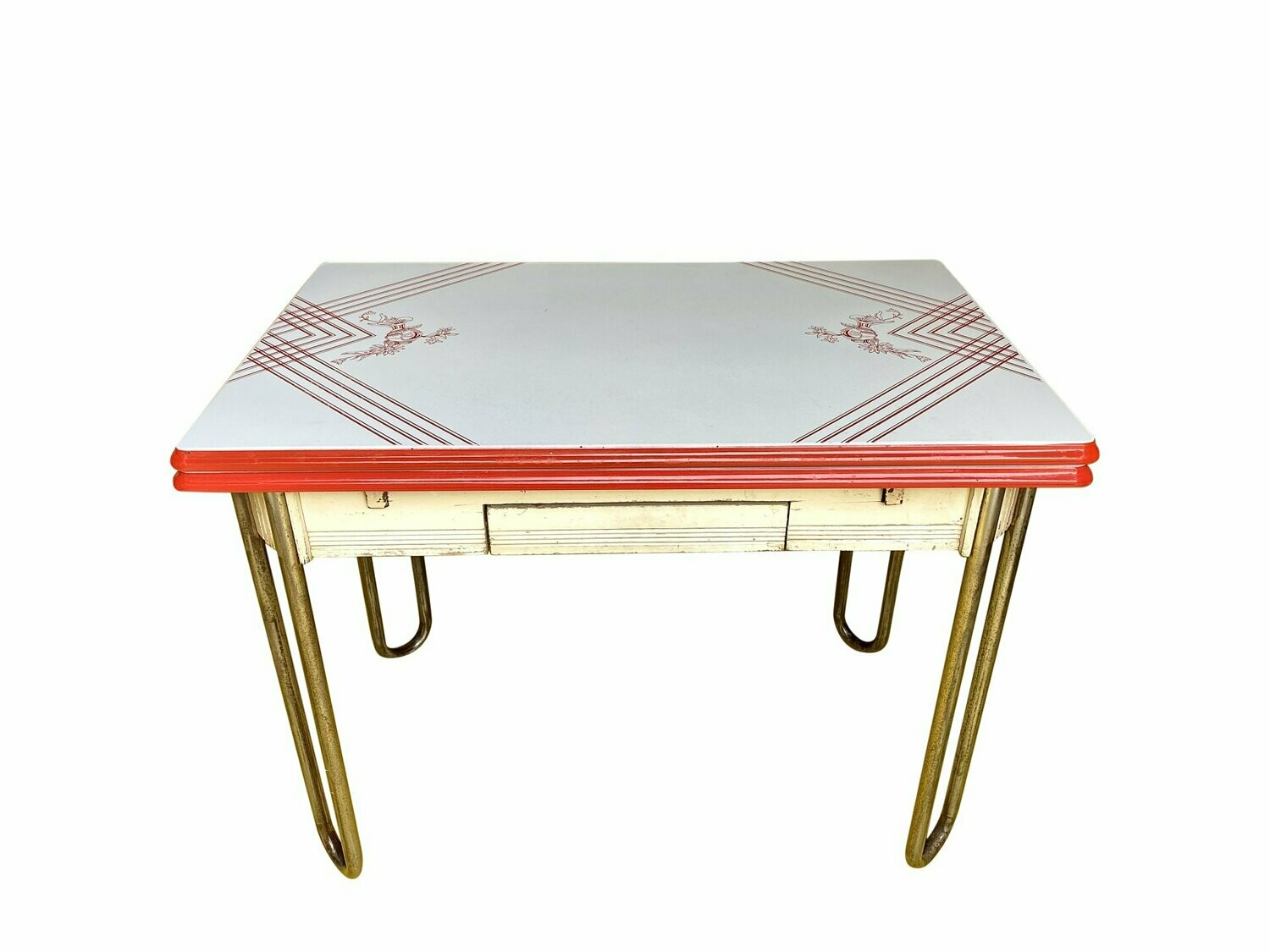 1940s Red White Enamel Top Table Metal Legs And Expandable Sides