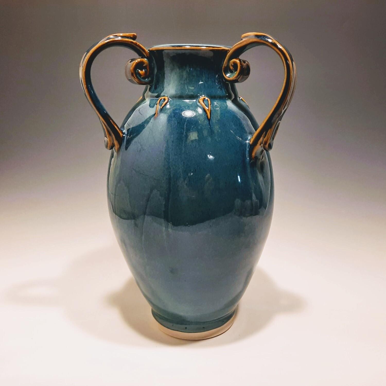 Porcelain 3 Handled Ornate Vase