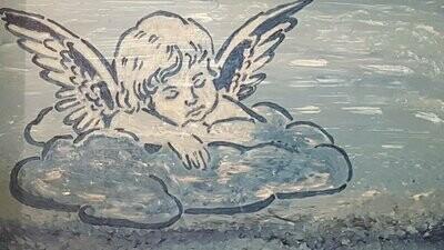 Schilderij Engel 1.15m op 0.75 m