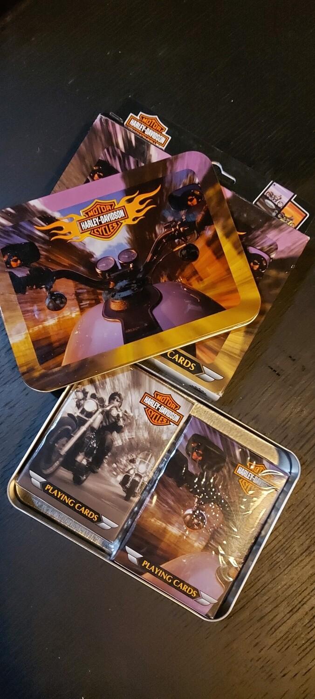 Nieuw ! 2 sets speelkaarten Harley davidson in metalen box