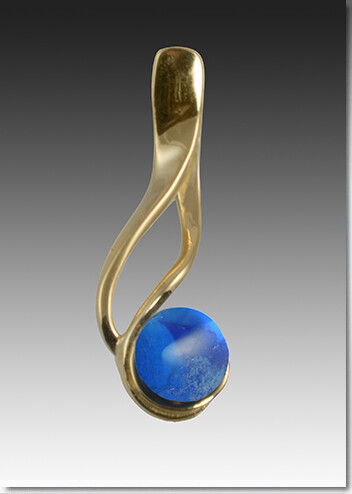 Hand blown glass pearl with cremains silver and 14K gold pendants.