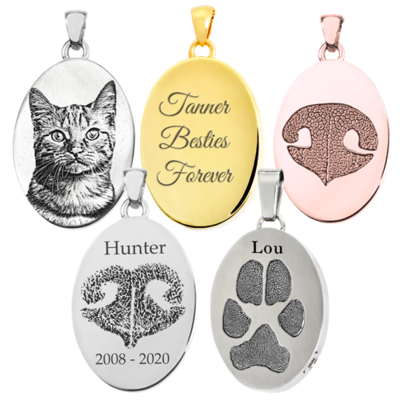 Laser Engraved Photo, Paw or Nose Print Oval Pendants