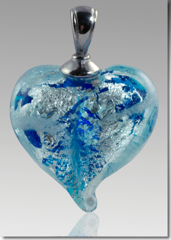 Loving Memory Glass Heart Pendant made with Ashes