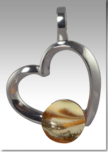 Rhythm Heart Pendant with Glass Pearl with Ashes