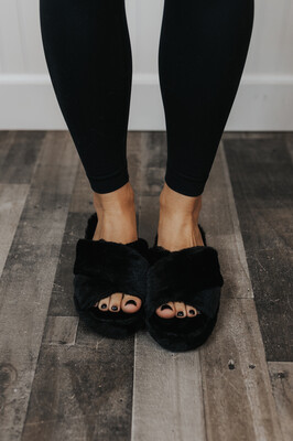 Furry Slippers- Black