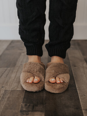 Furry Slippers- Taupe