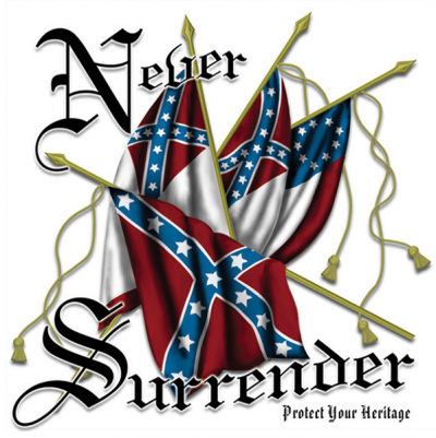 Never Surrender - Square Sticker by Dixie Outfitters®​