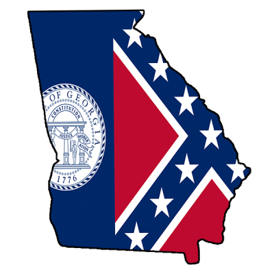 Confederate Georgia Flag- Square Sticker by Dixie Outfitters®​
