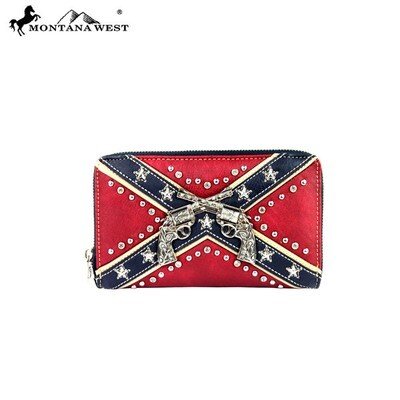 Montana West Rebel Flag Wallet With Guns
