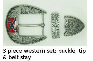 3 Piece Western Confederate Belt Buckle