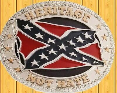 Heritage ~ Not Hate Confederate Belt Buckle