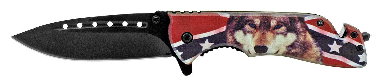 Confederate Flag Wolf Pocket Knife