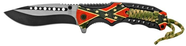 Confederate Flag Finger Grip Folding Pocket Knife