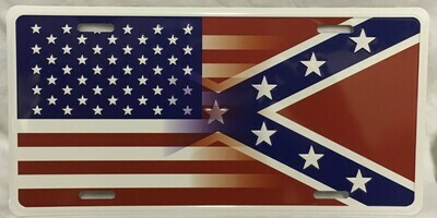 Battle Flag / American Flag License Plate