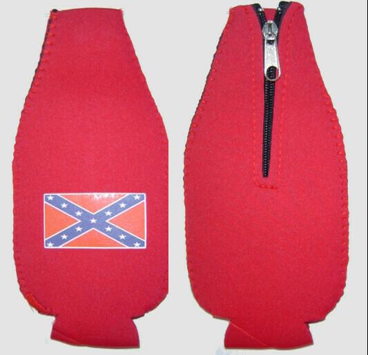 Zippered Bottle Koozie with Battle Flag