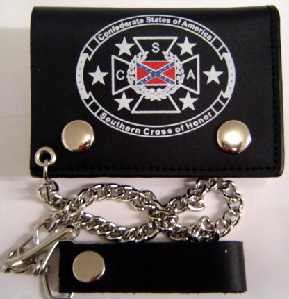 Cross of Honor Leather Trifold Wallet w/ Chain